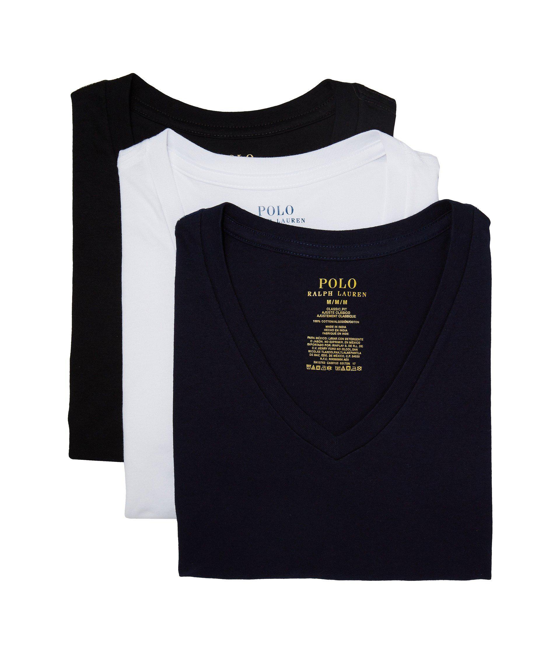 Lyst - Polo Ralph Lauren 3-pack V-neck T-shirt (cruise Navy white ... 3258e951fba8