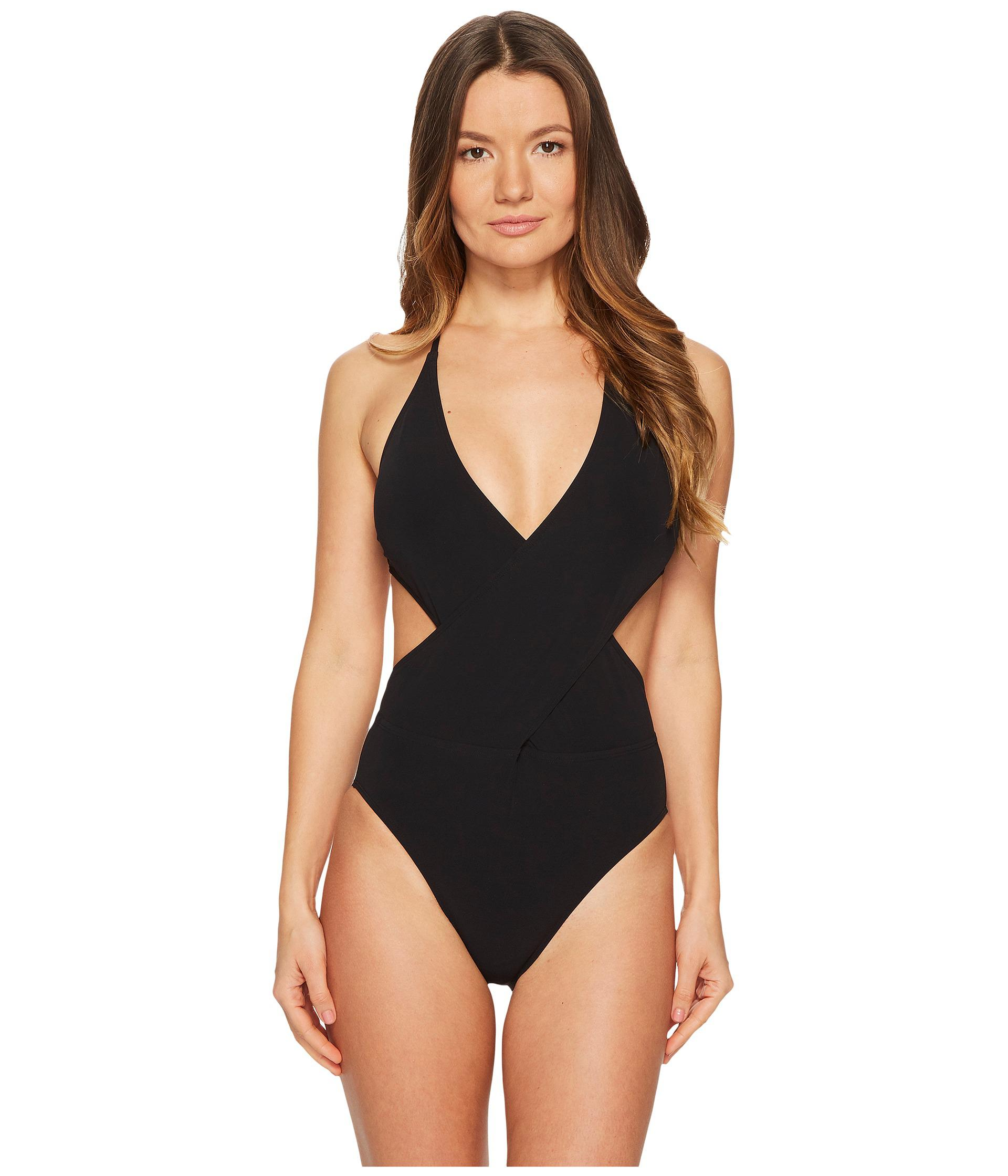 db15af90db Lyst - Tory Burch Solid Wrap One-piece (black) Women's Swimsuits One ...