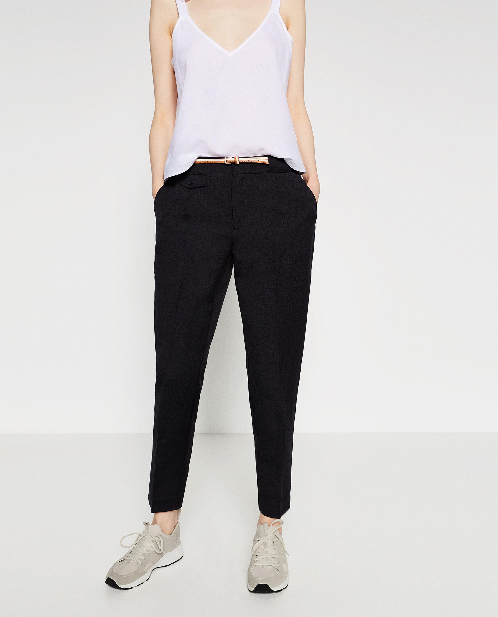 Model Zara Linen Trousers With Belt In Gray  Lyst