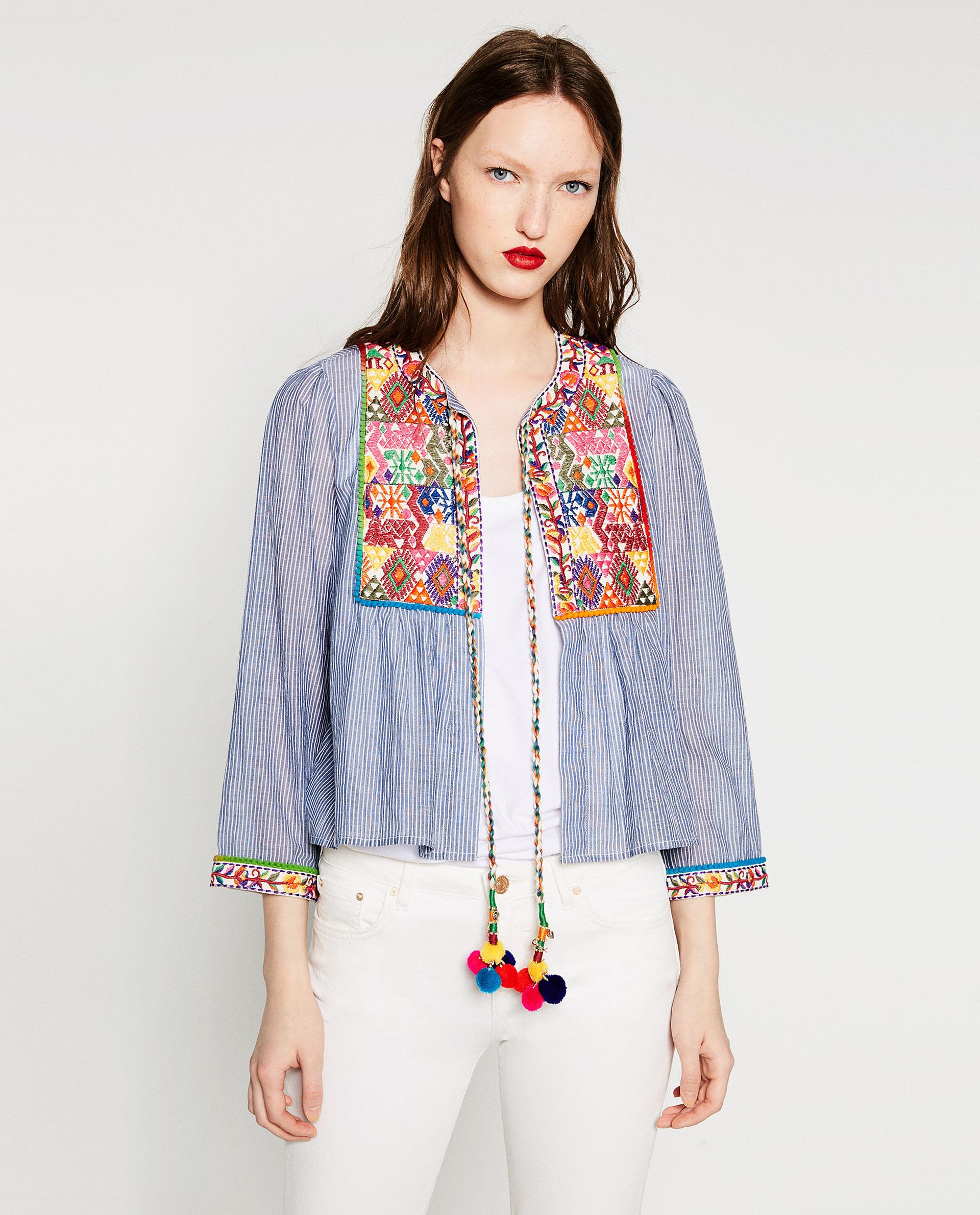 Zara short embroidered jacket lyst