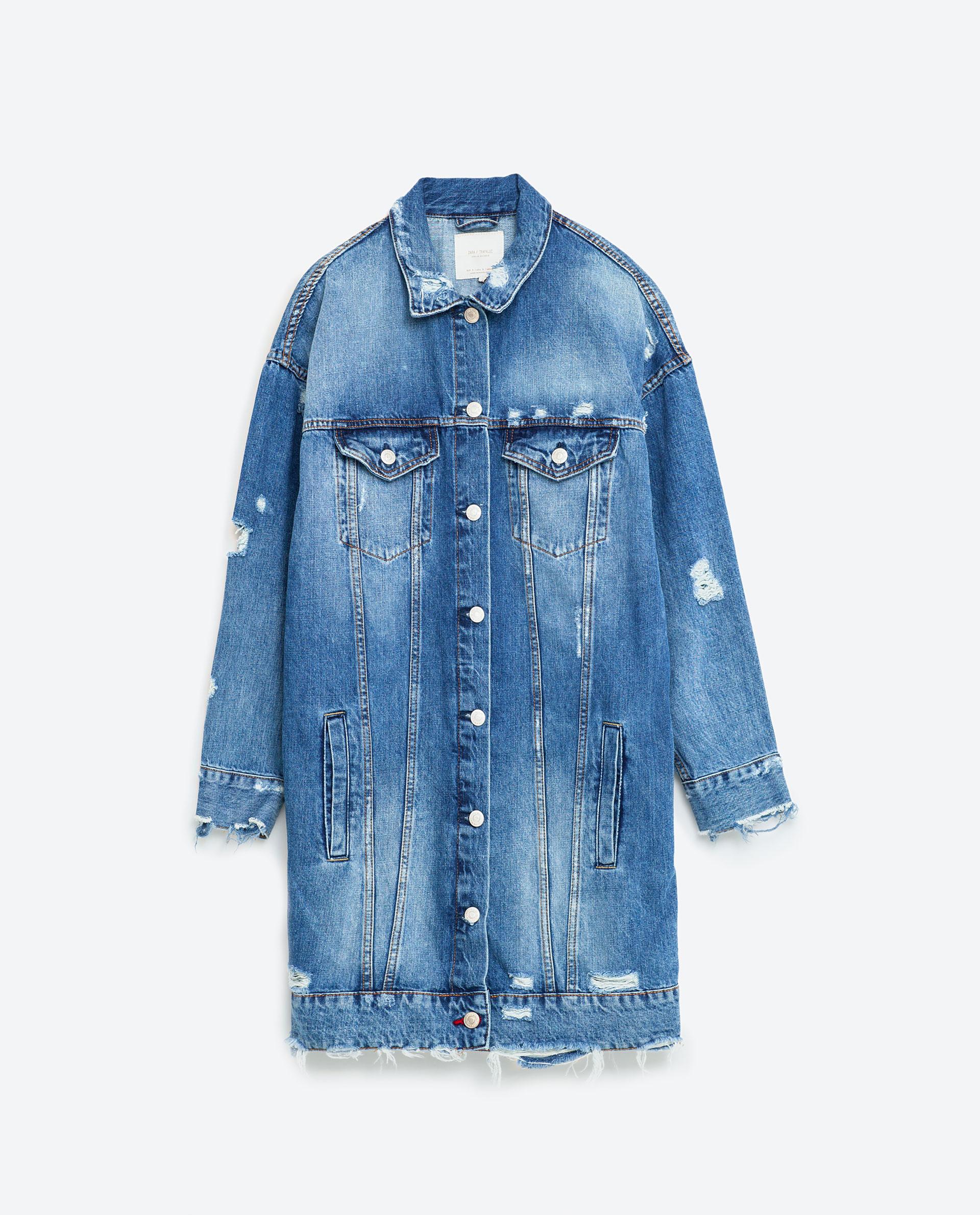 Zara Longline Denim Jacket In Blue Lyst