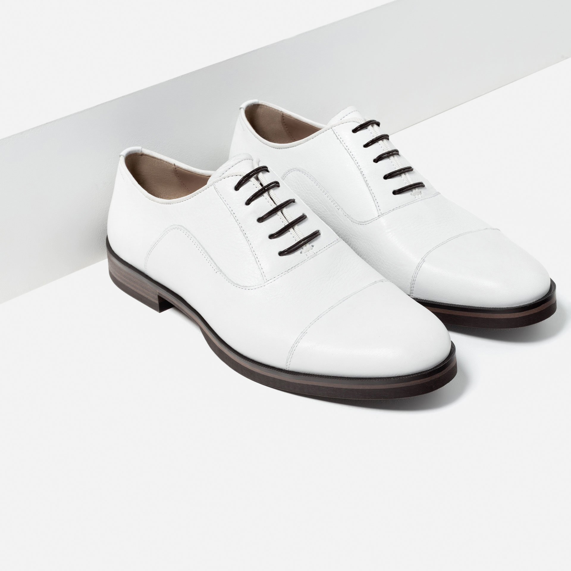 zara white leather shoes in white for lyst