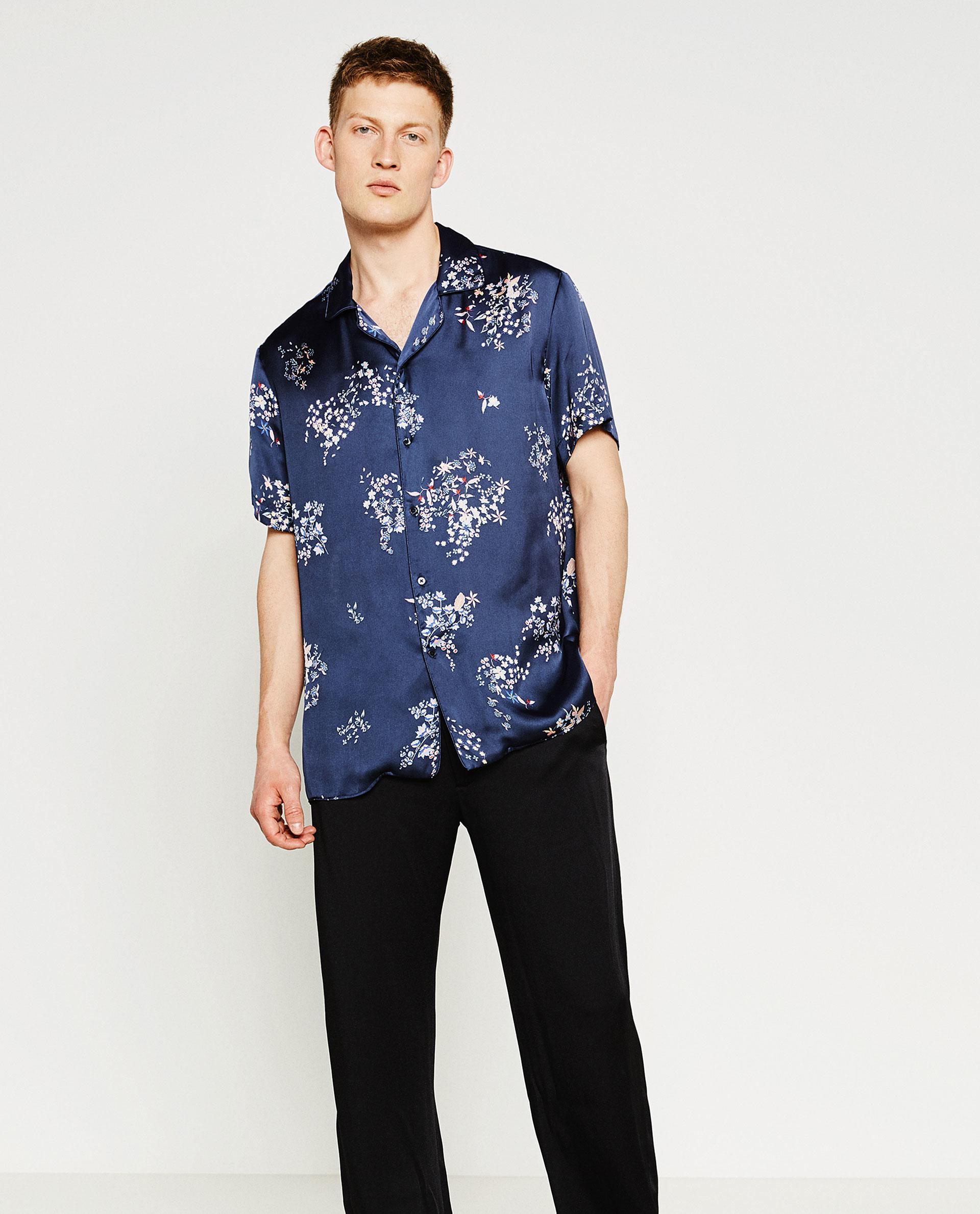 Zara printed floral shirt in blue for men lyst for Zara mens floral shirt