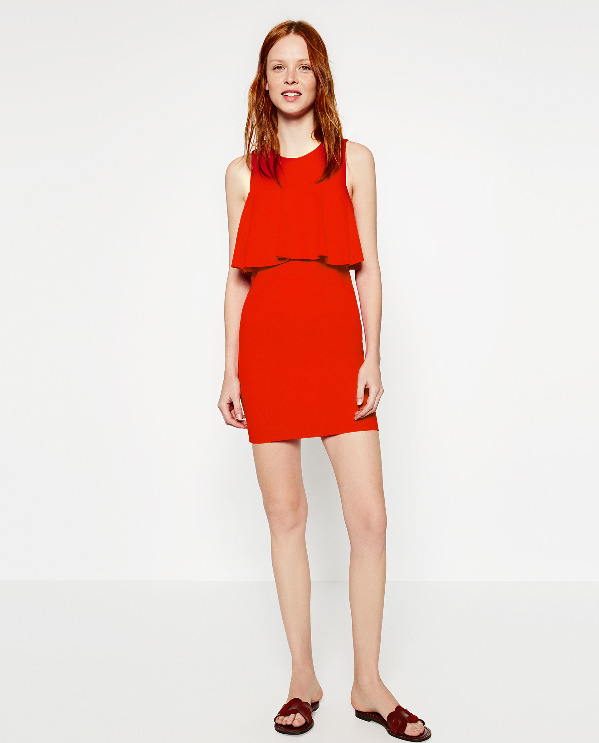 Zara Dress With Front Frill in Red - Lyst