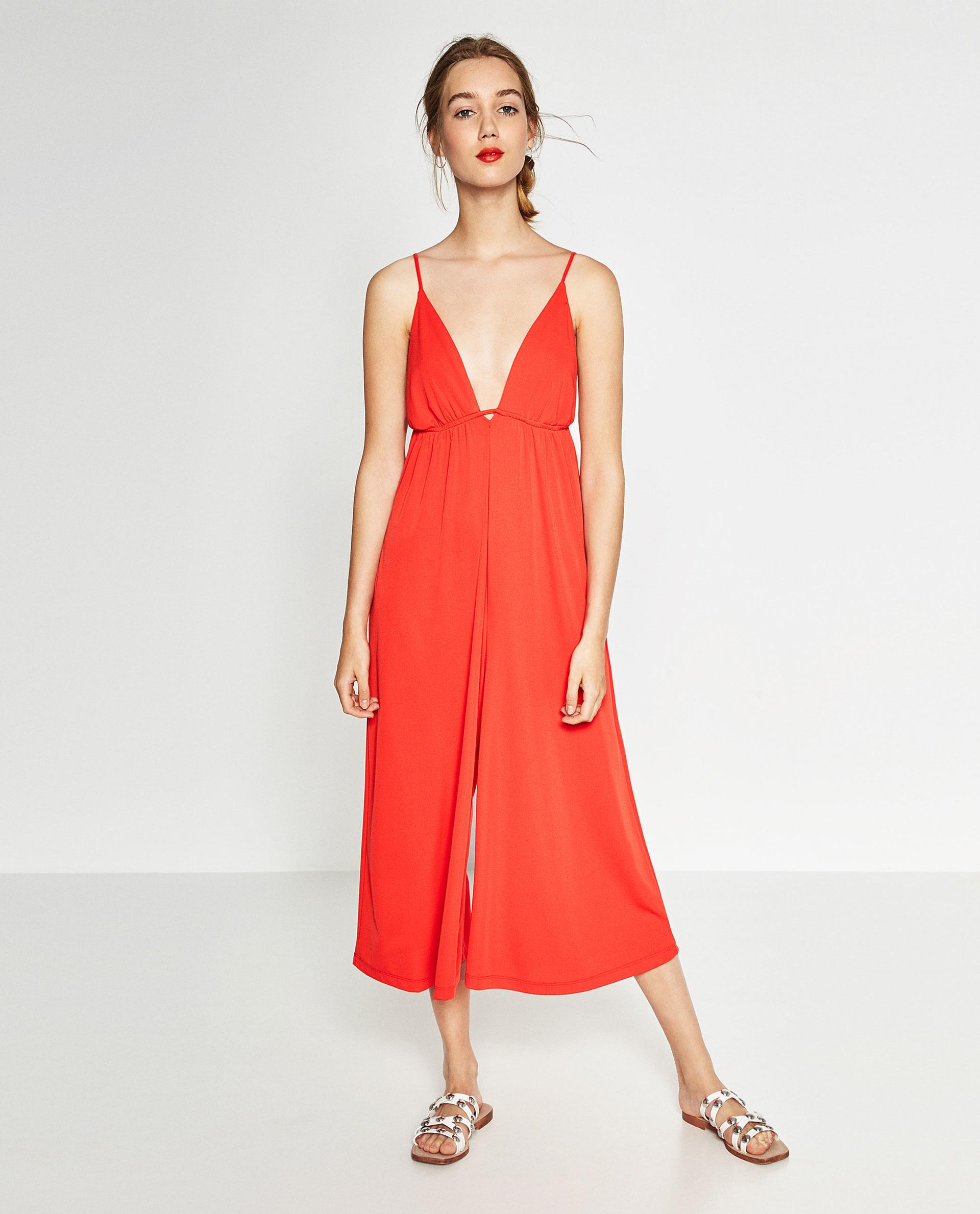 Zara V Neck Jumpsuit In Red Lyst