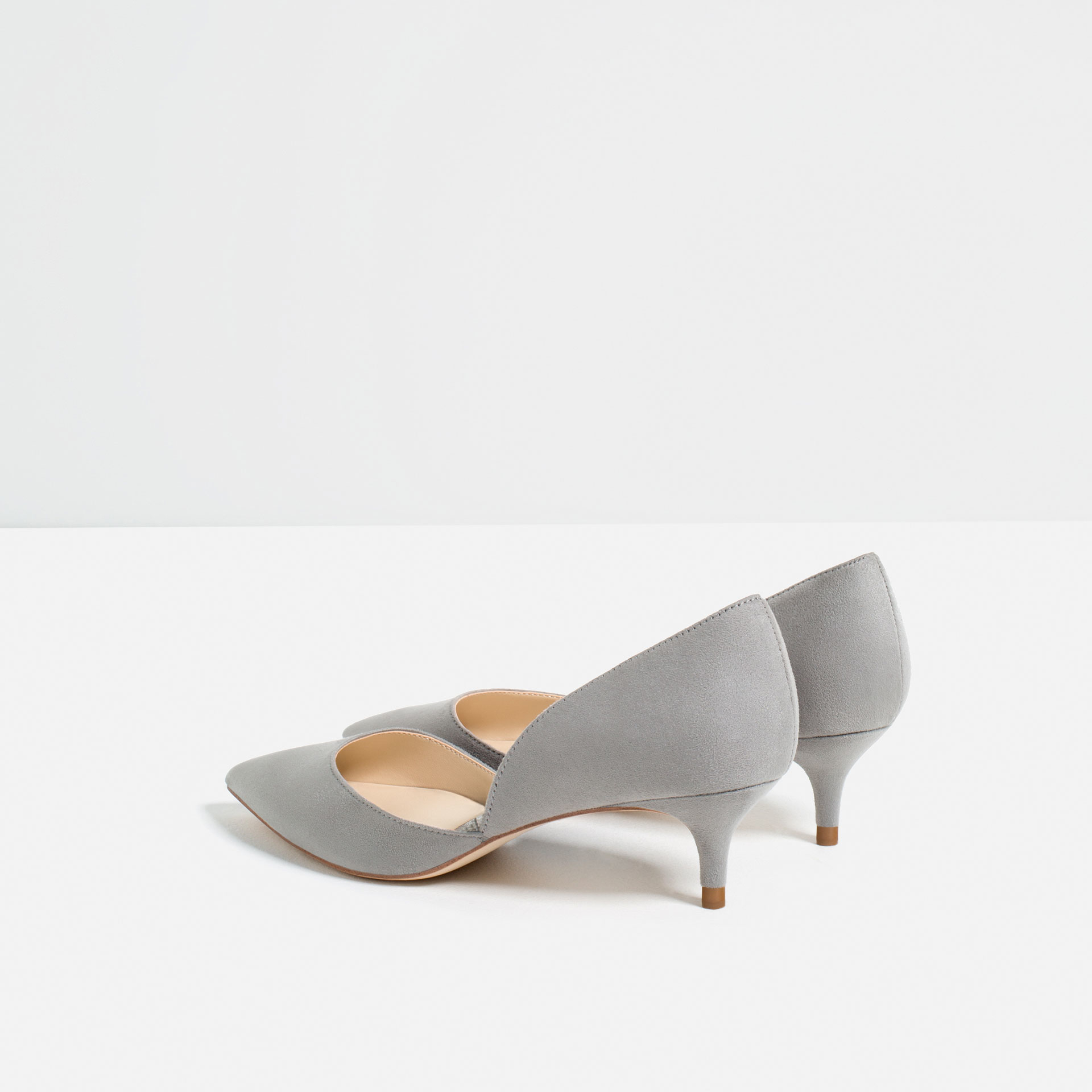 zara mid heel dorsay shoes grey