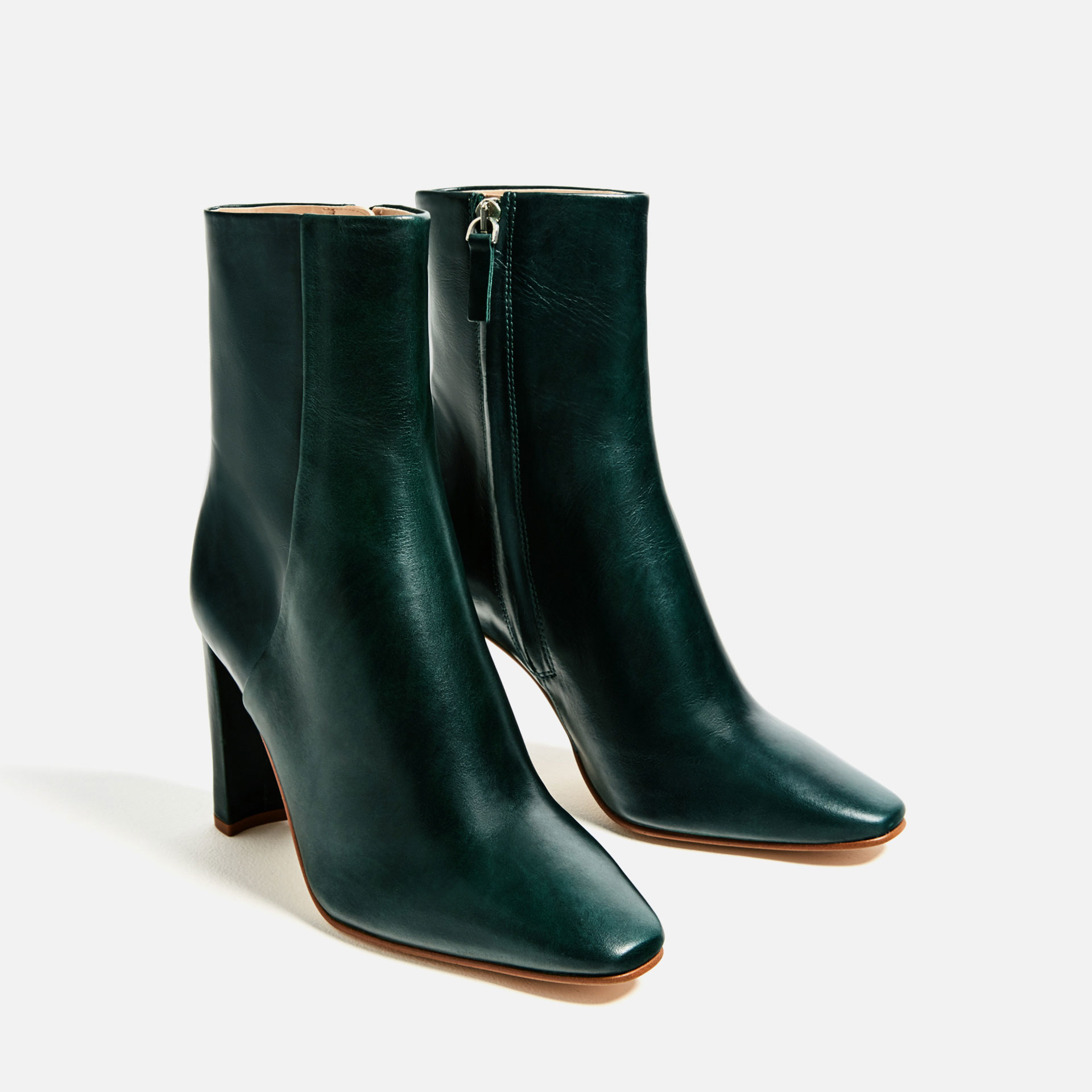 zara leather high heel ankle boots lyst