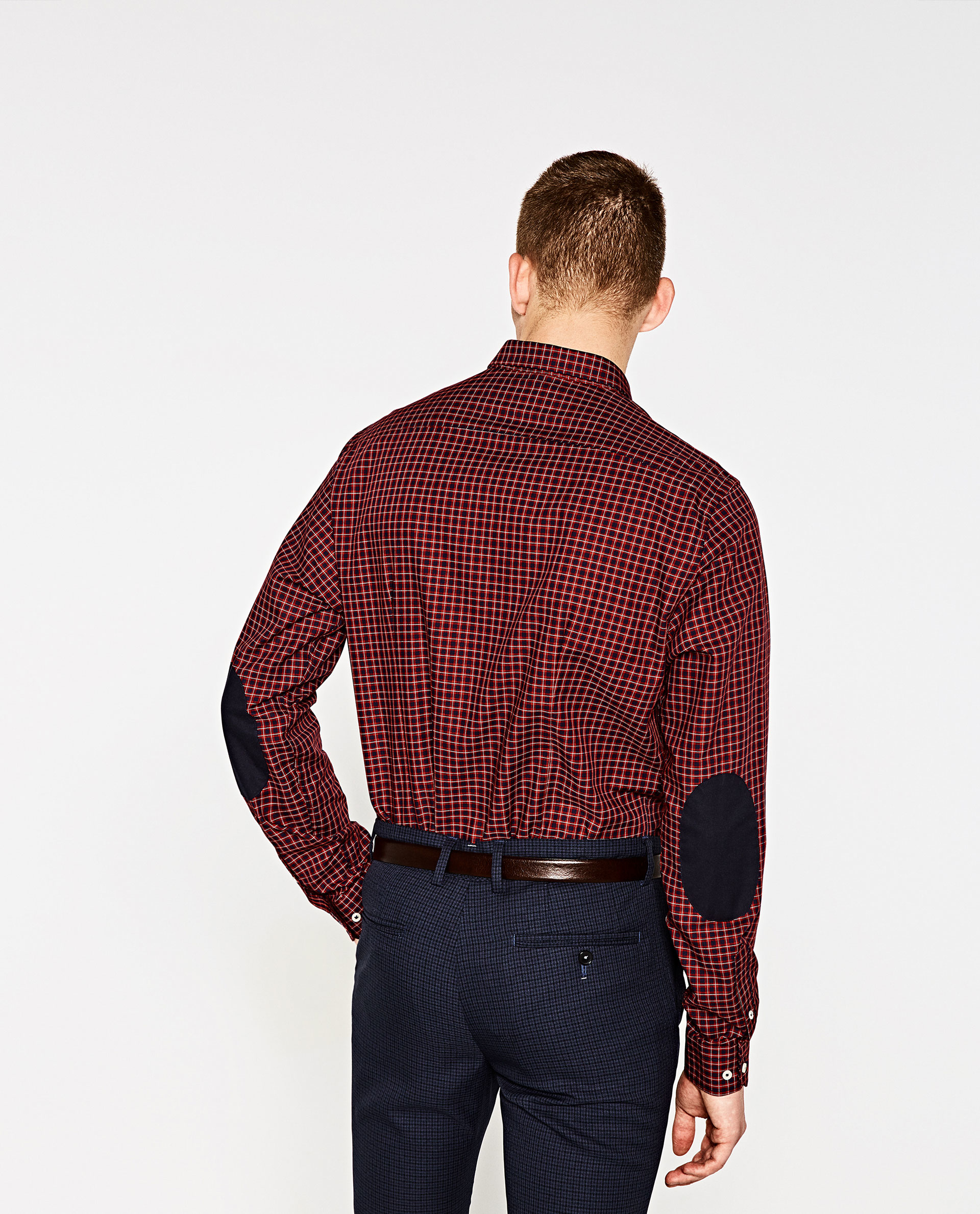 Zara check shirt with elbow patches in red for men lyst