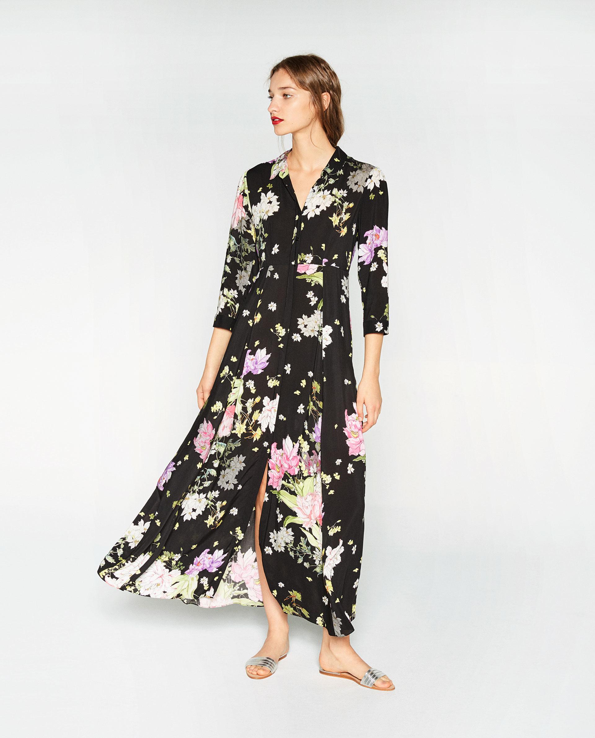 Zara floral print crepe shirt dress in black lyst for Portafoglio gucci fiori