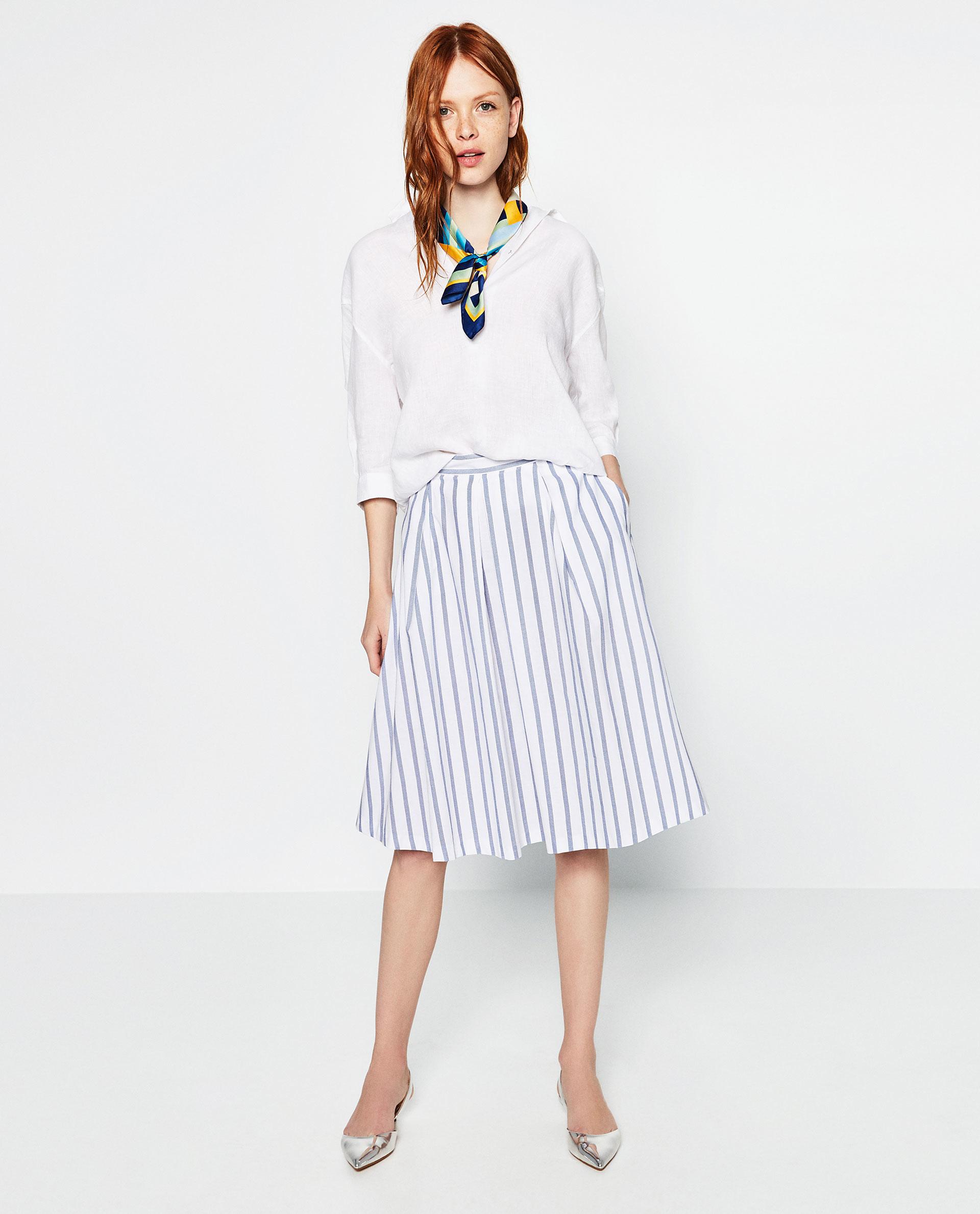 zara pleated midi skirt in white lyst
