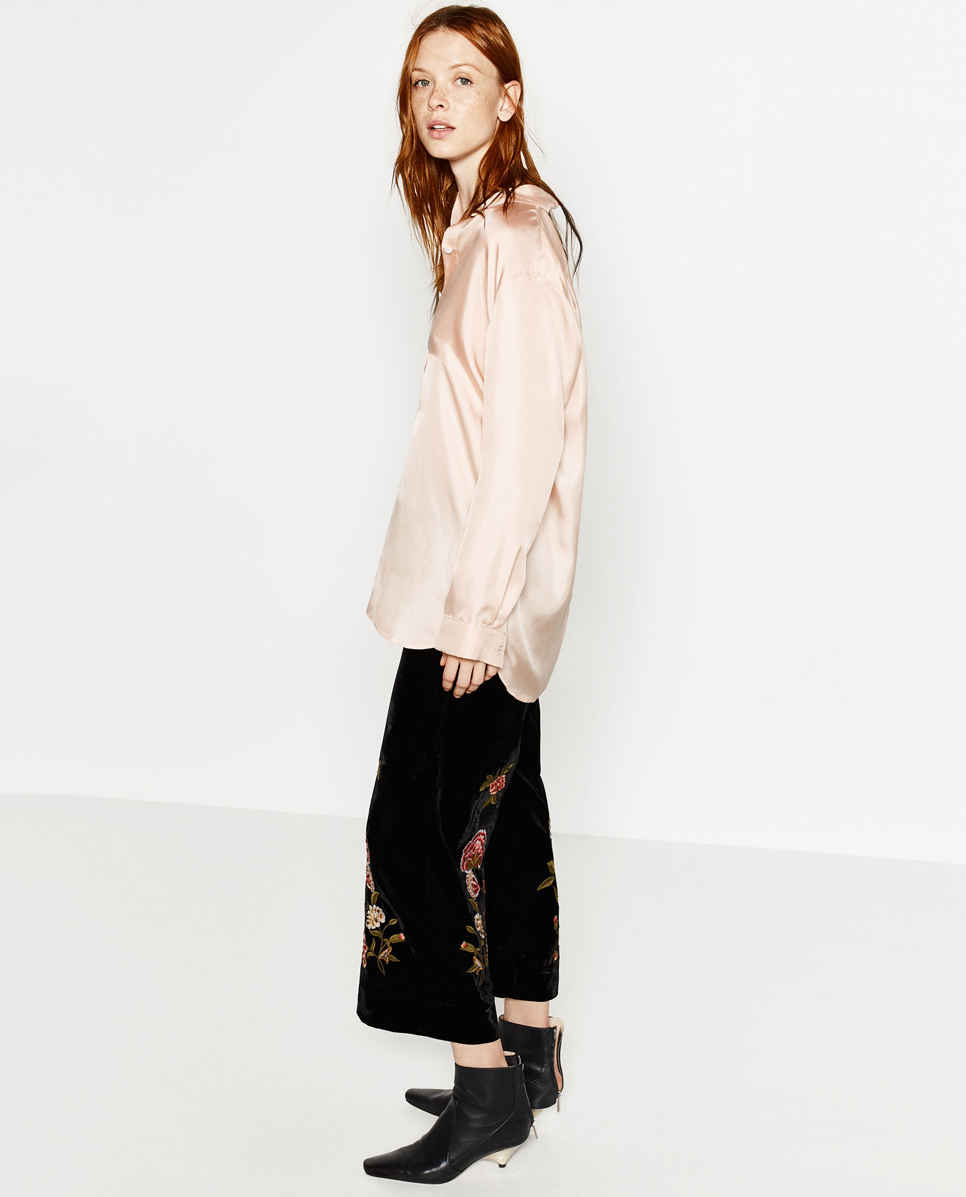 Zara Embroidered Velvet Culottes  Lyst