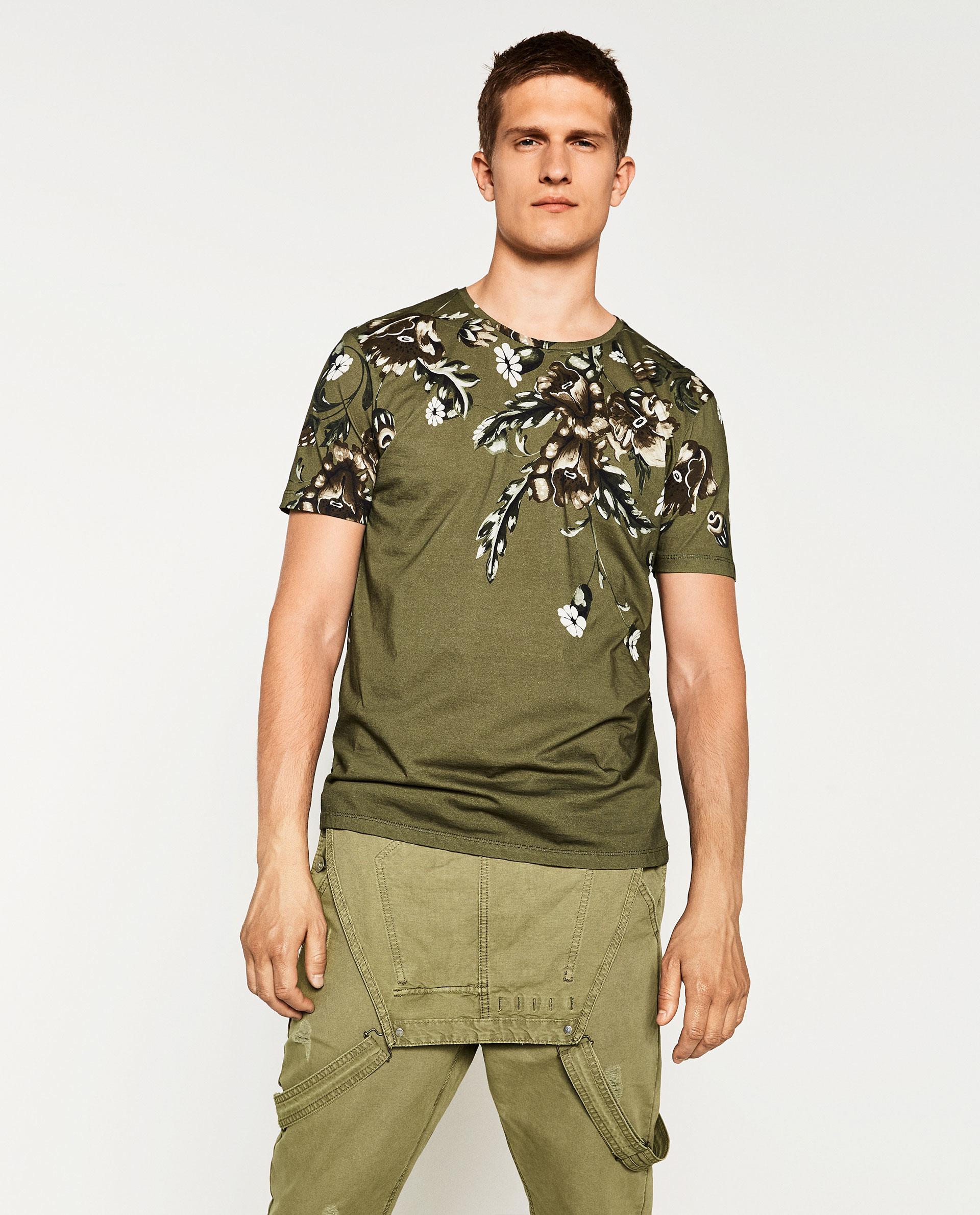 Zara retro floral t shirt in natural for men lyst for Zara mens floral shirt