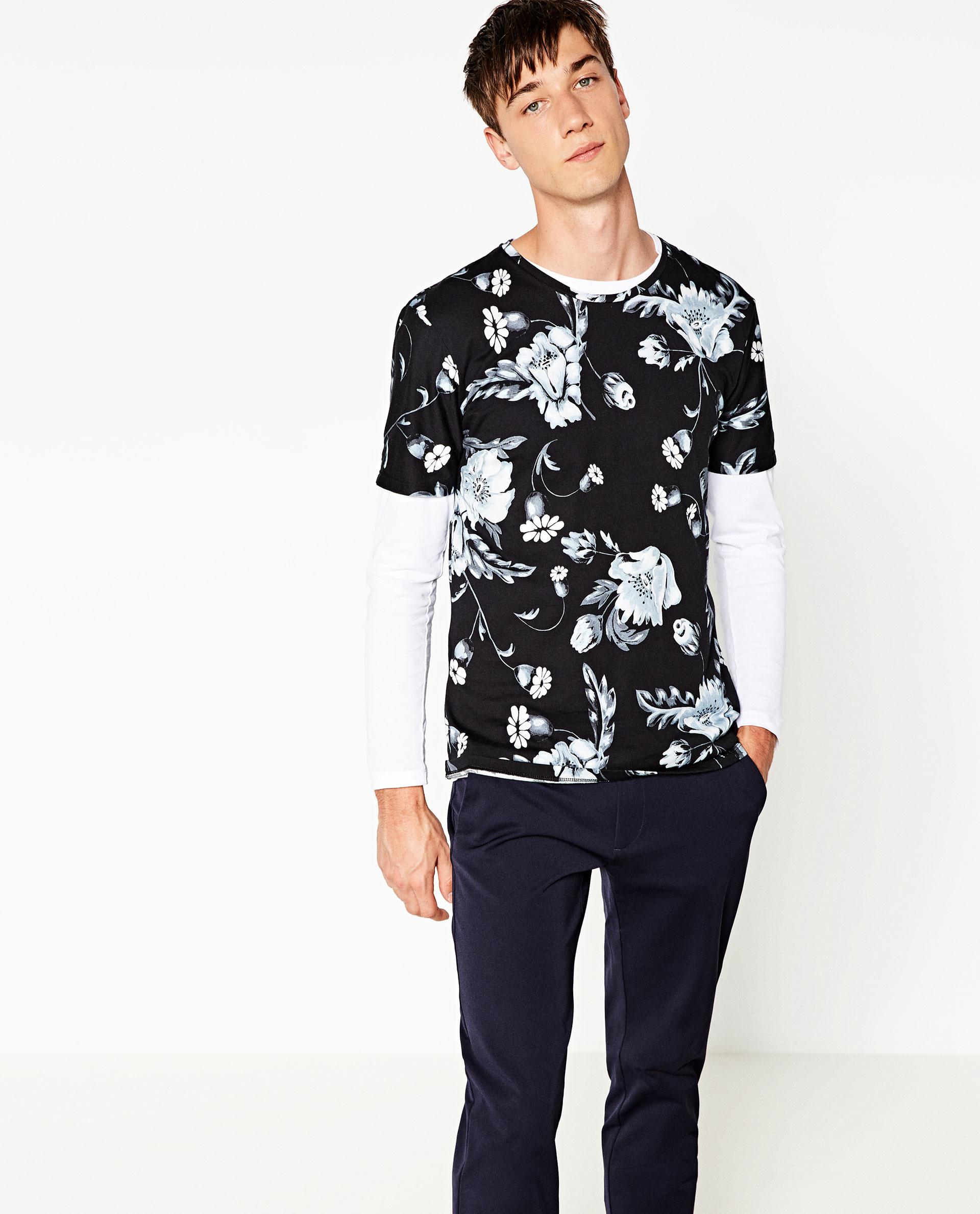 Zara retro floral t shirt in blue for men lyst for Zara mens floral shirt