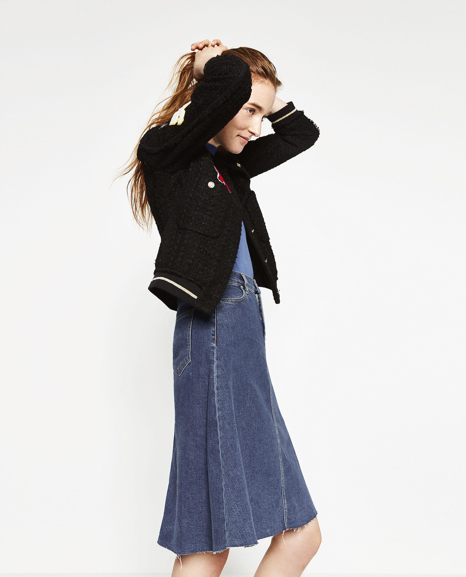 zara classic denim skirt in blue lyst