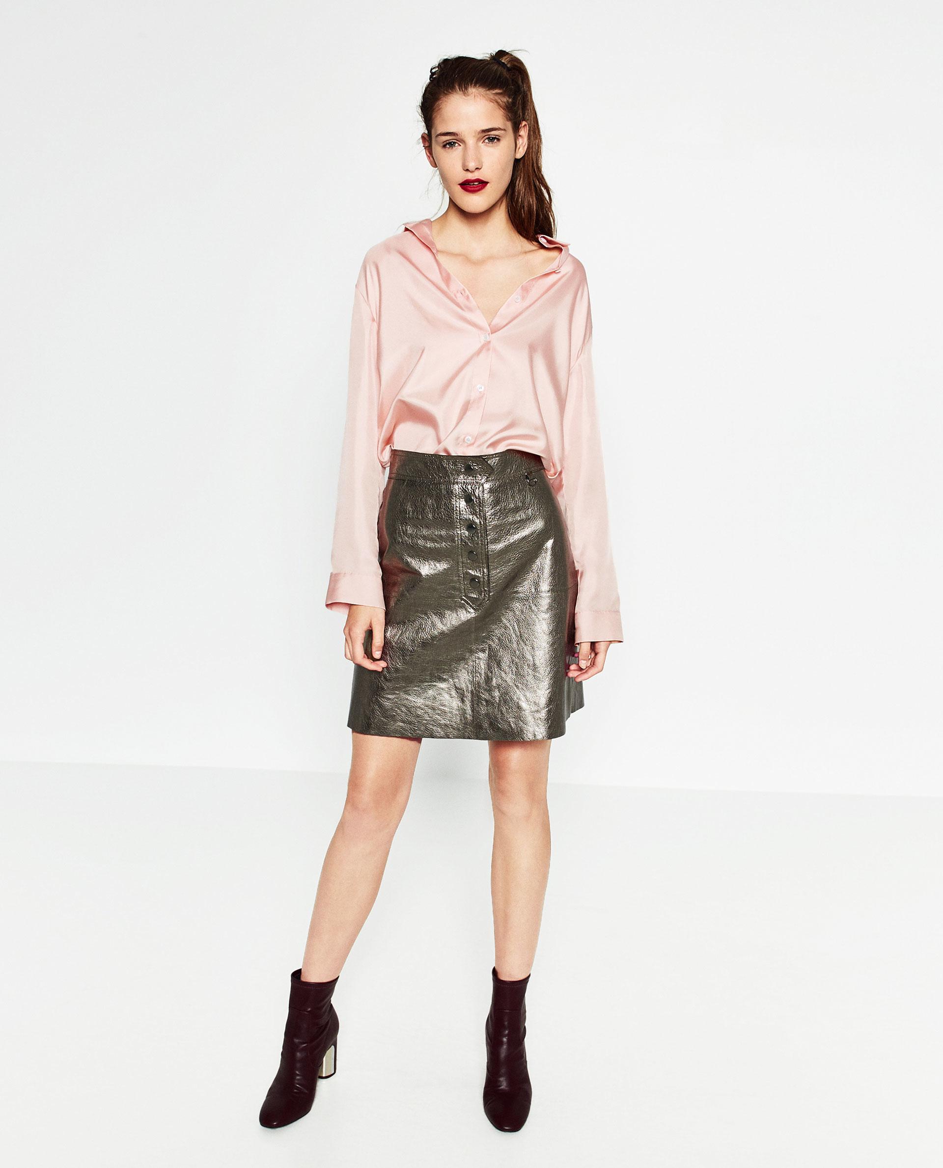 zara metallic leather skirt lyst