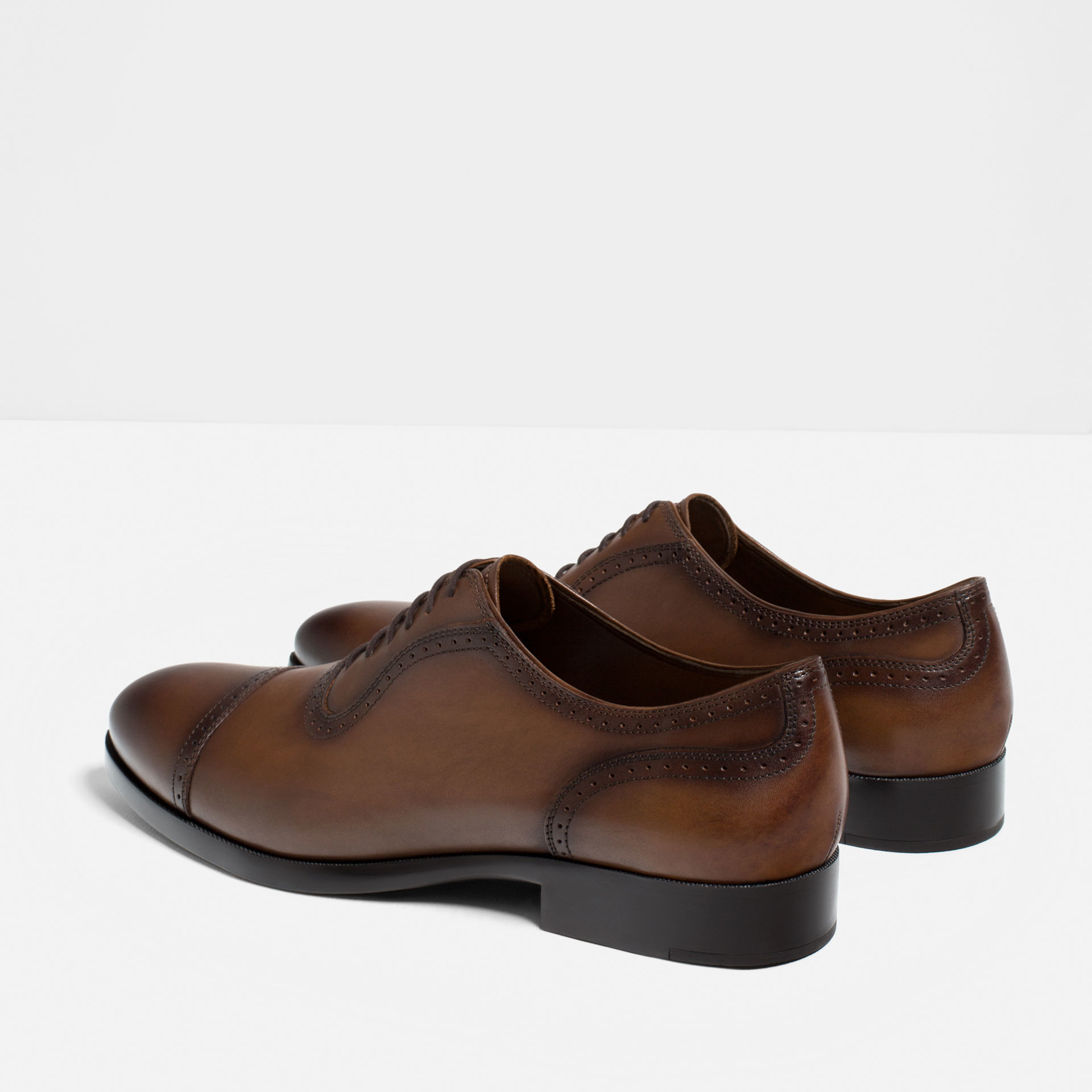 Zara Men Brown Leather Brogued Leather Oxford Shoes