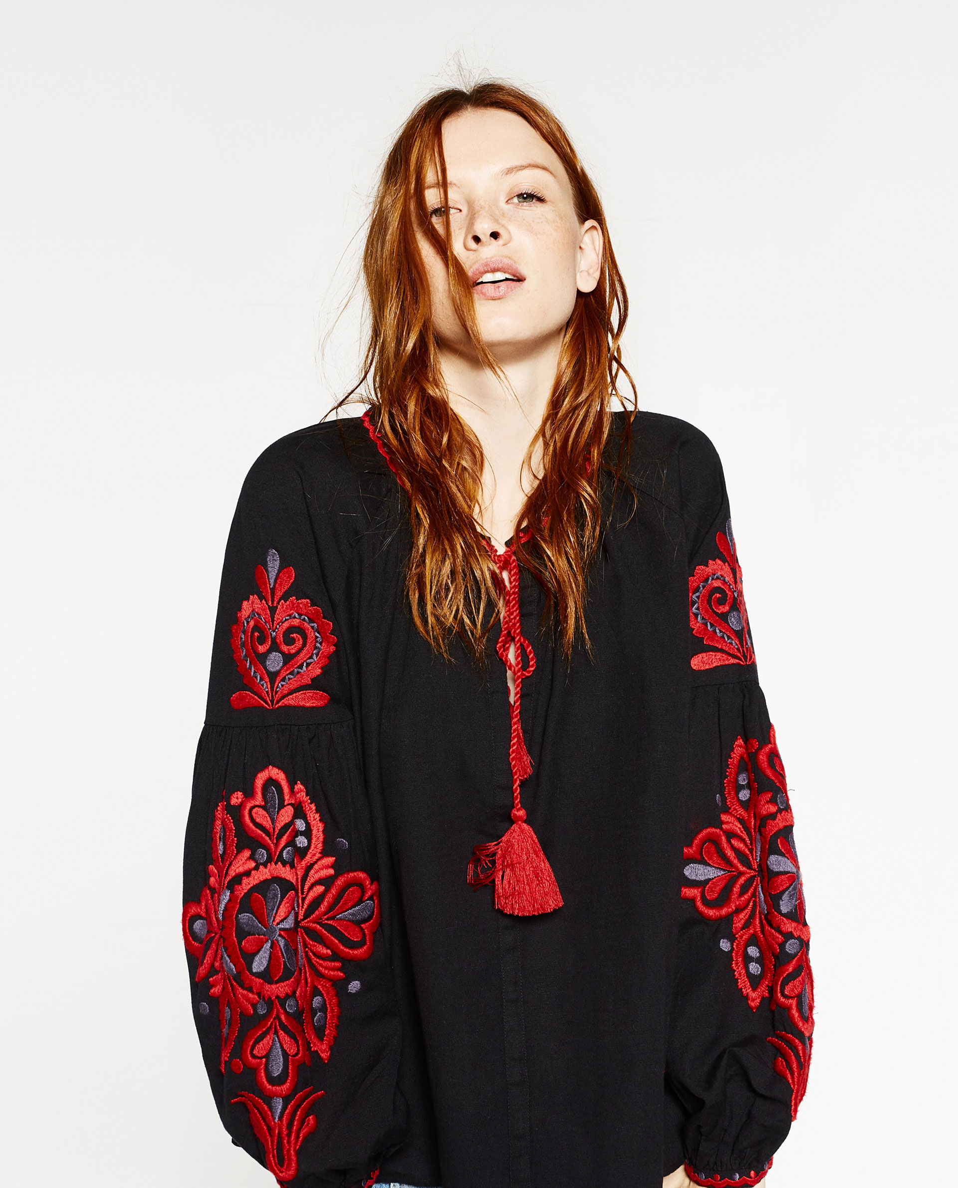 Zara Embroidered Sleeve Blouse | Lyst