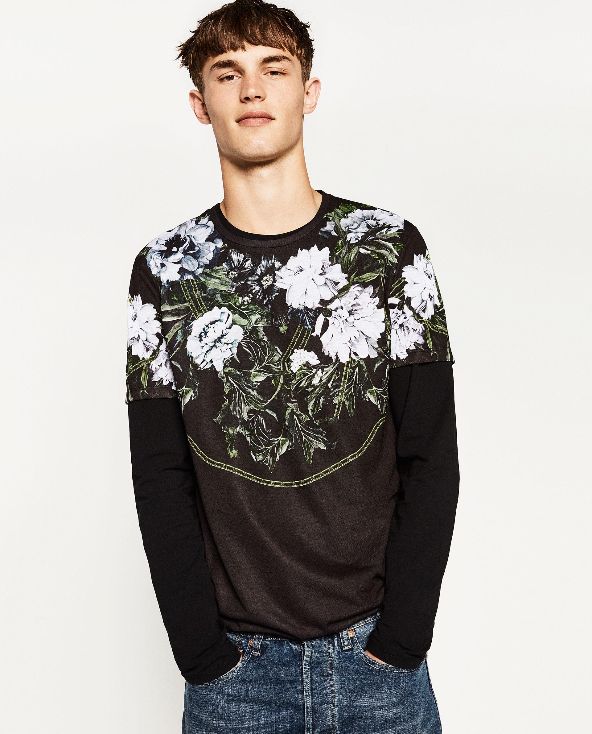 Zara flowers t shirt in black for men lyst for Zara mens floral shirt