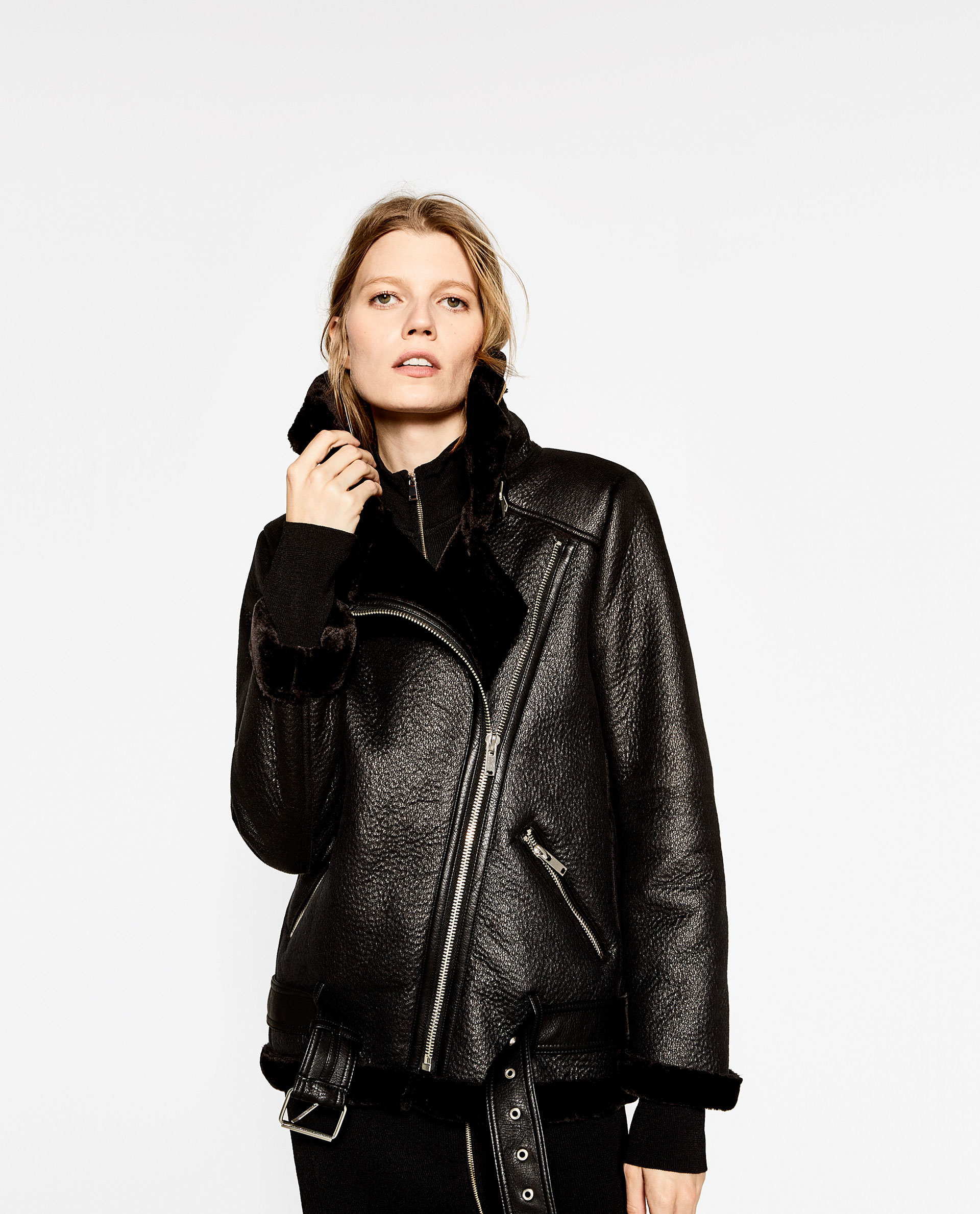 Zara Faux-Fur-Collar Biker Jacket in Black | Lyst