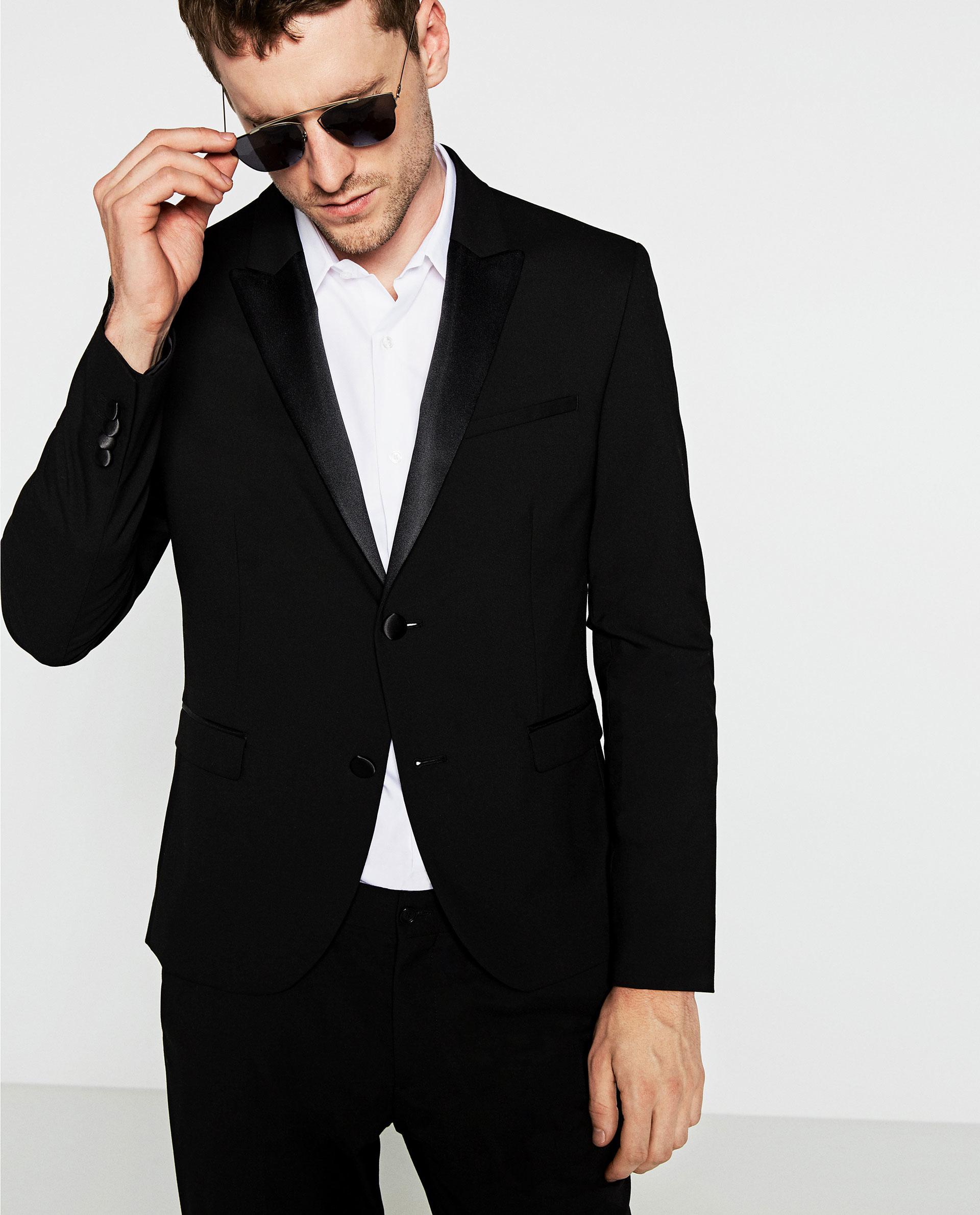 Zara Black Tuxedo Collar Blazer in Black for Men | Lyst