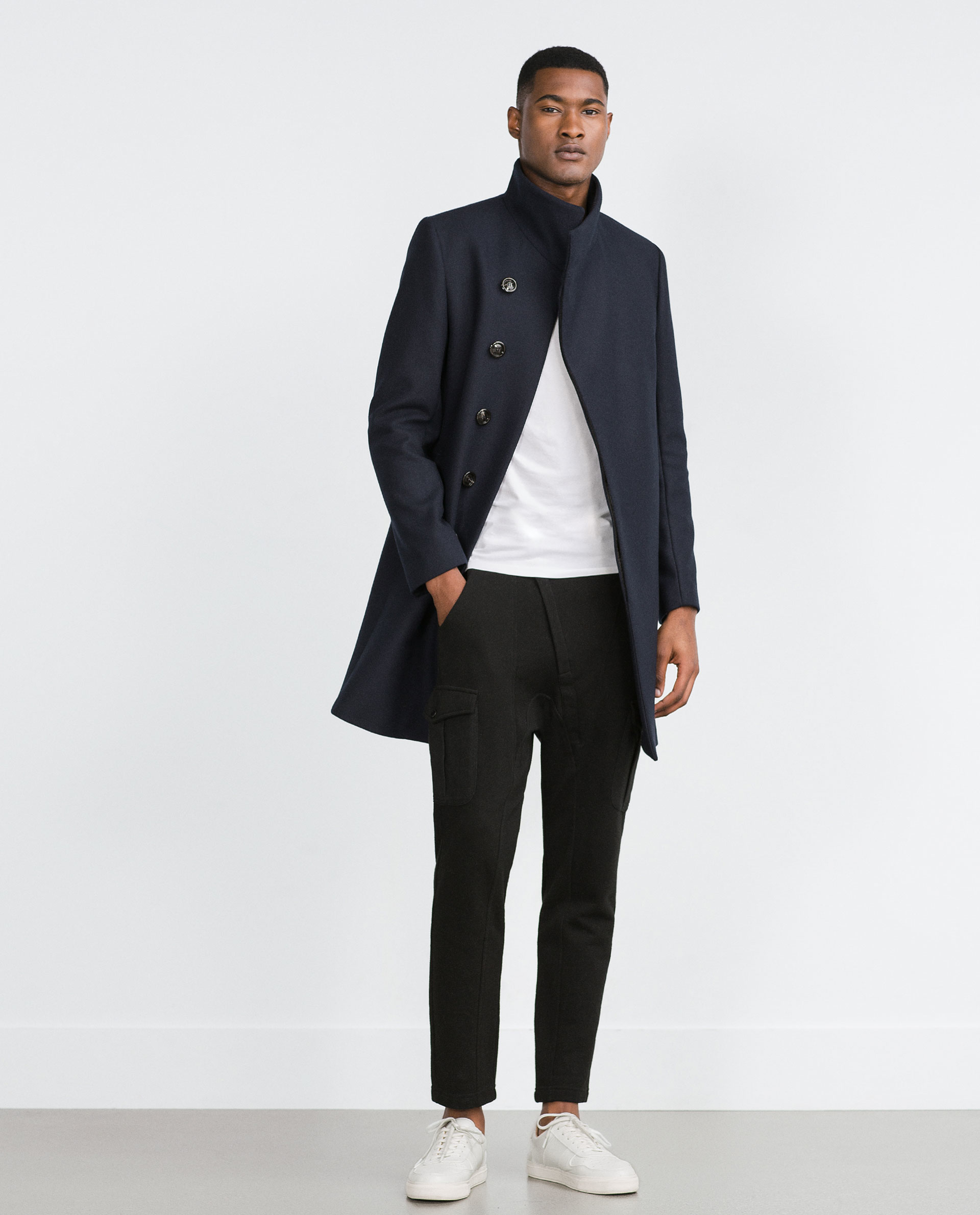 Zara Navy Coat In Blue For Men Lyst