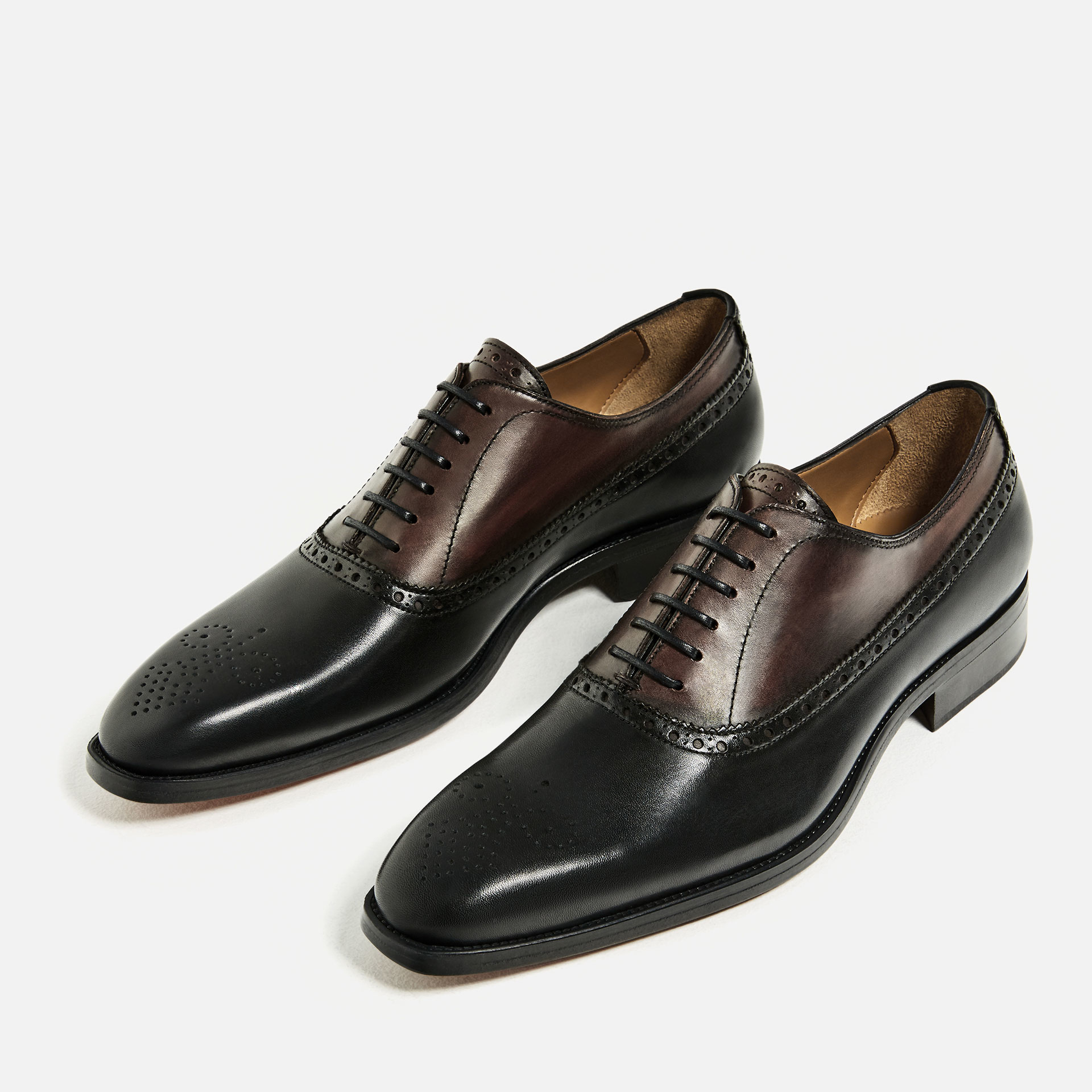 zara two tone leather shoes for lyst
