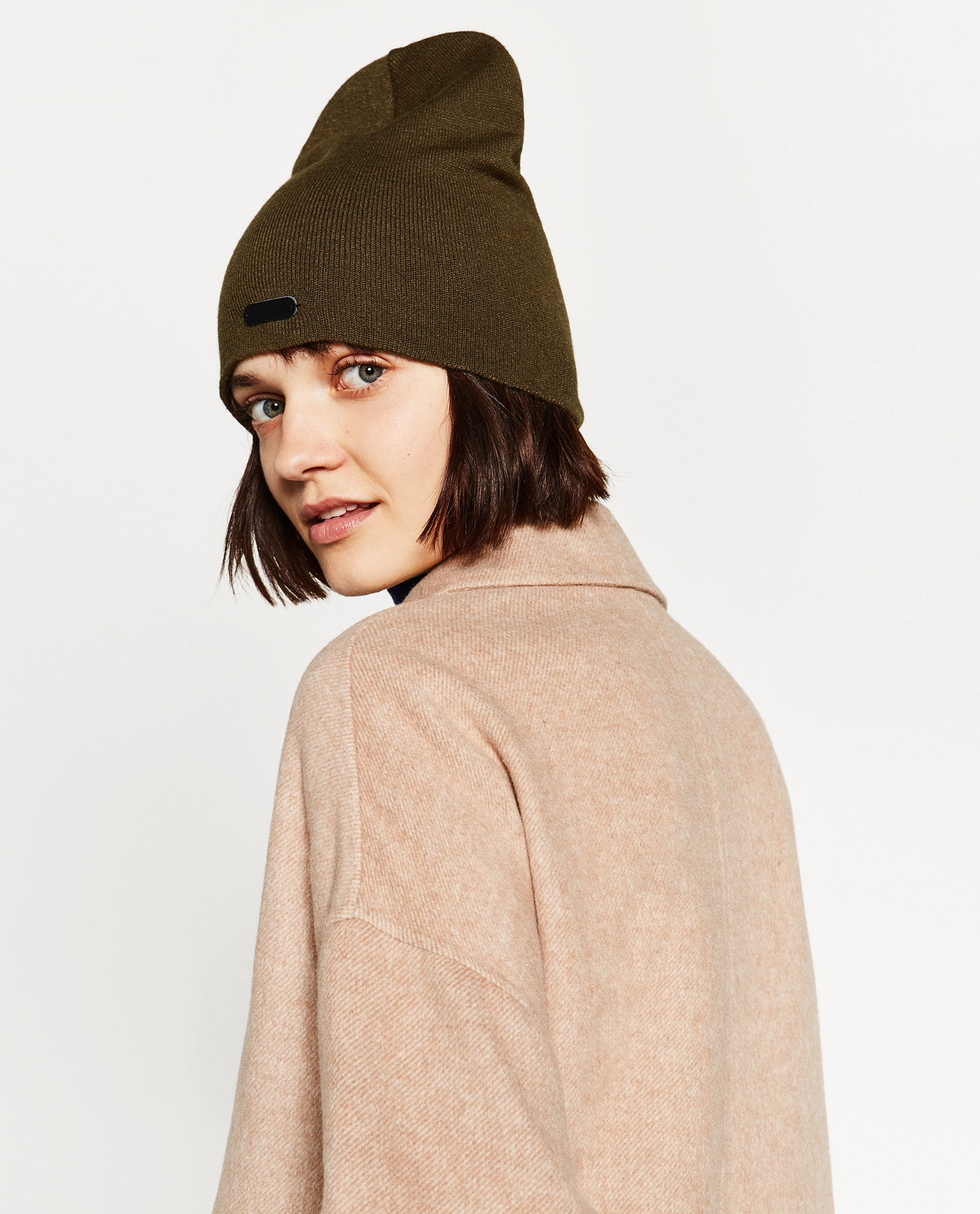 zara beanie style hat with leather detail lyst