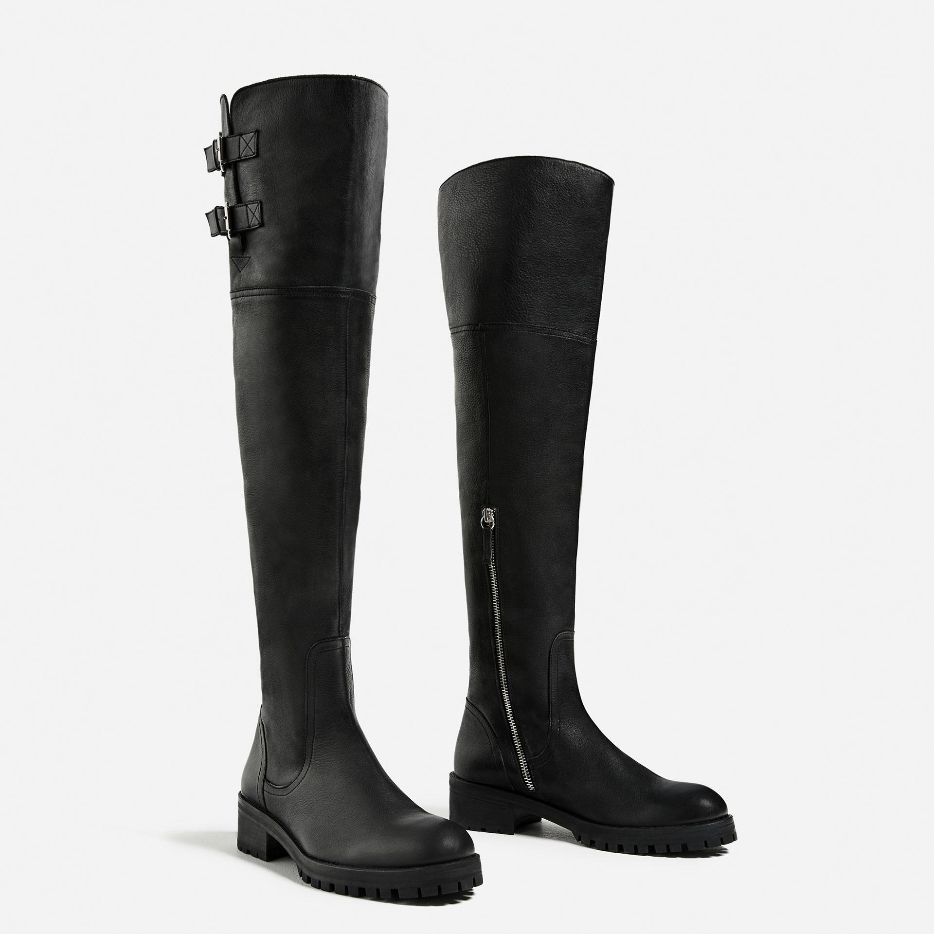 zara the knee flat leather boots in black lyst