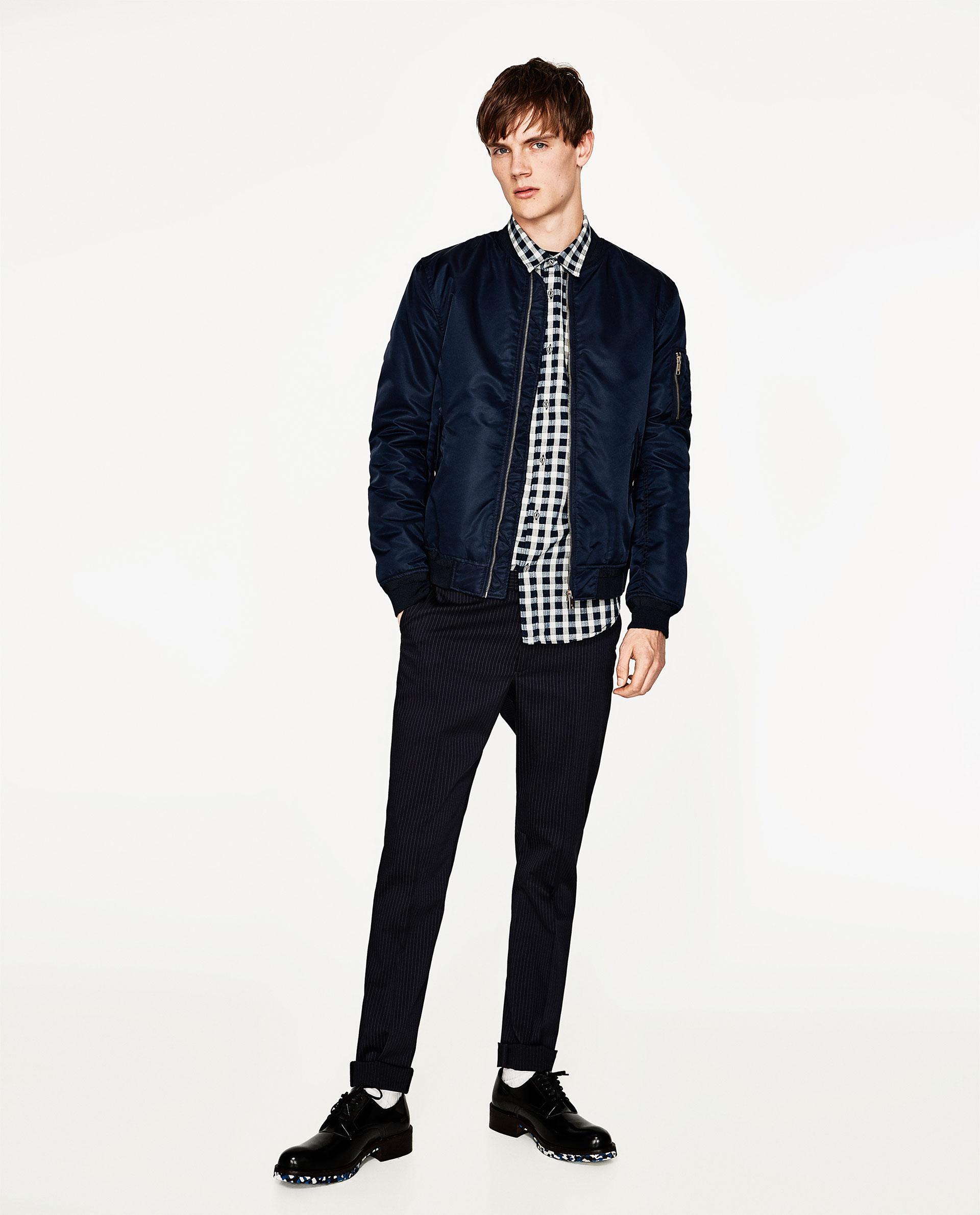 Zara check shirt in white for men lyst for Zara mens shirts sale