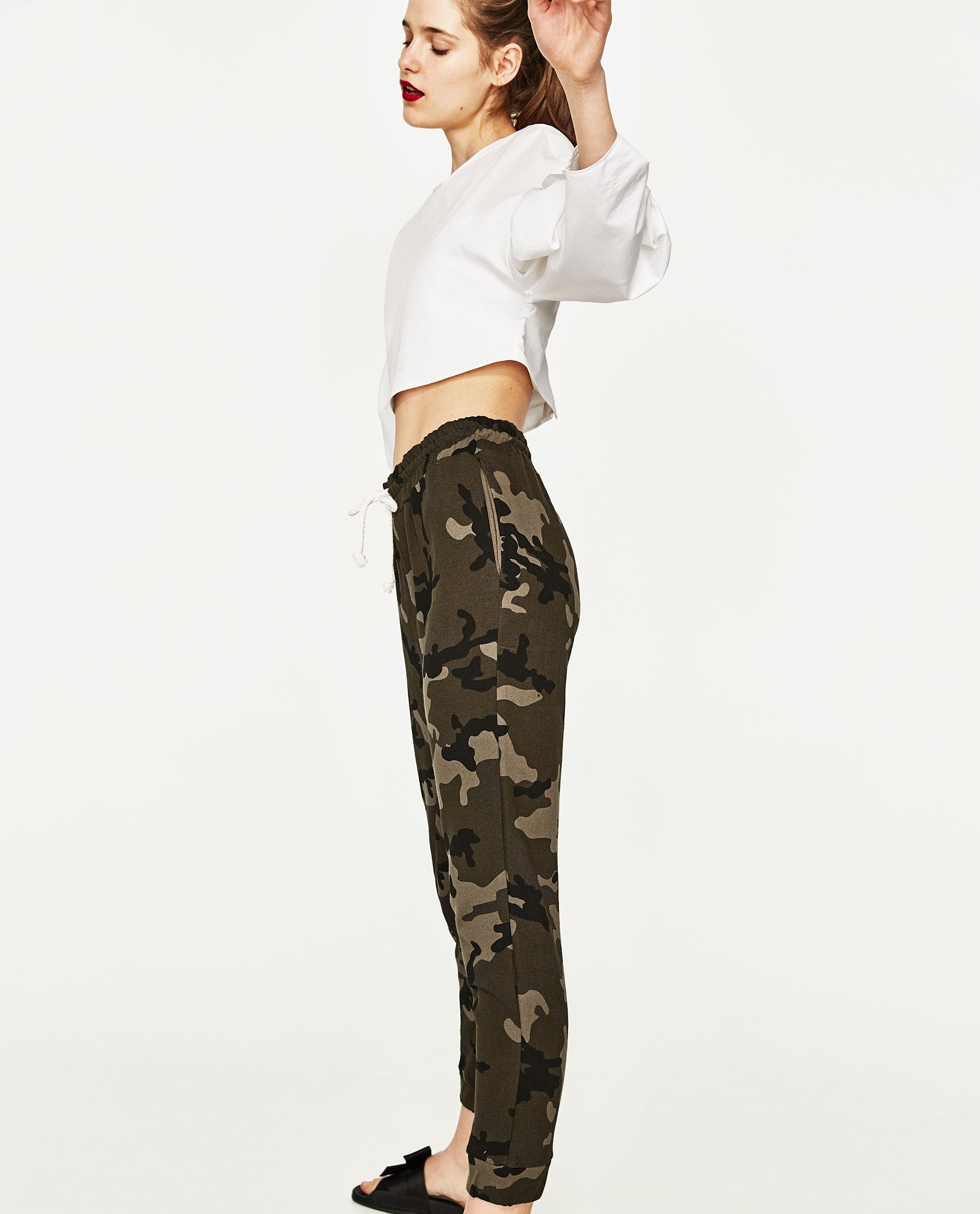 Awesome Zara Camouflage Skinny Trousers In Natural  Lyst