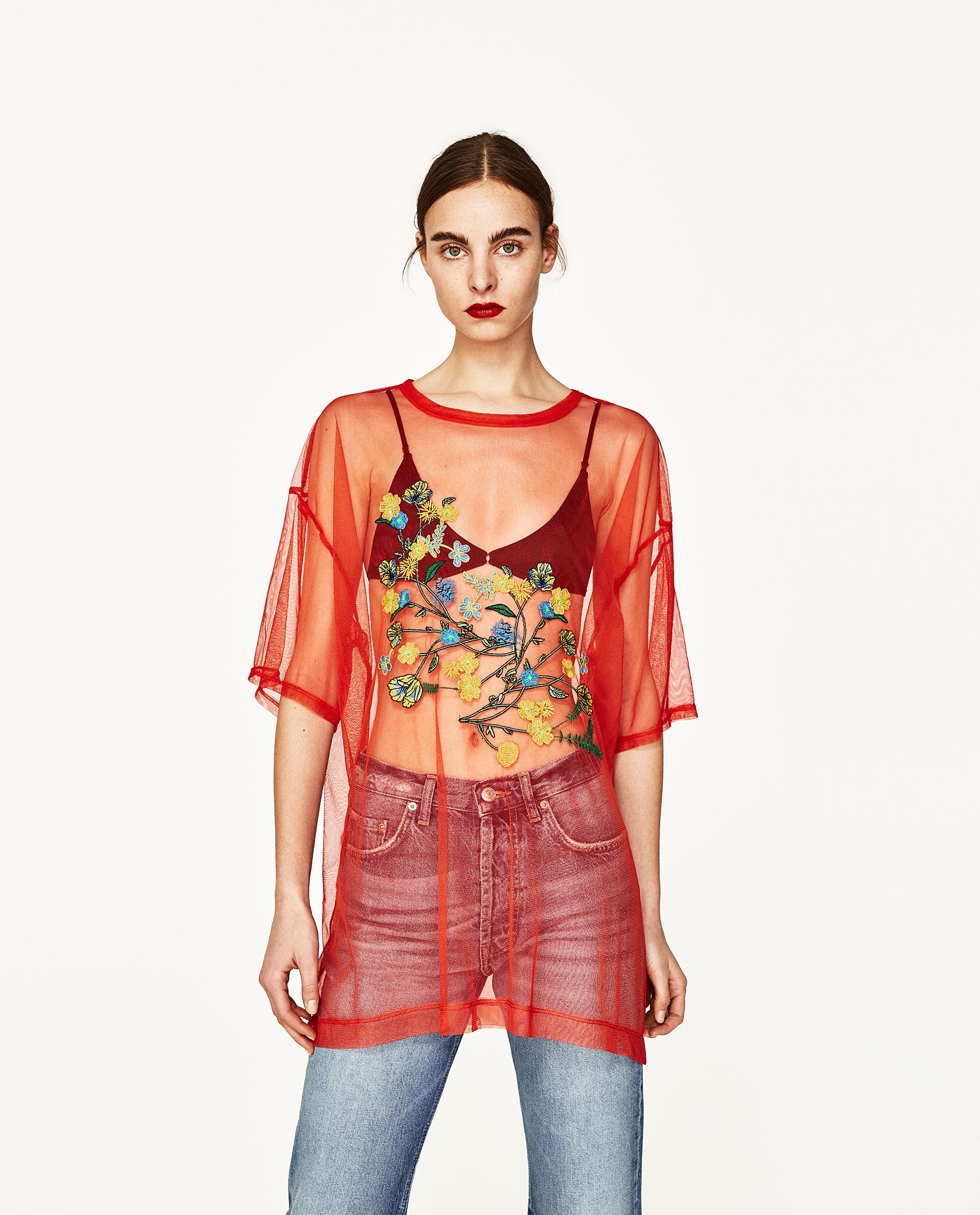 Zara floral embroidery tulle t shirt in red lyst