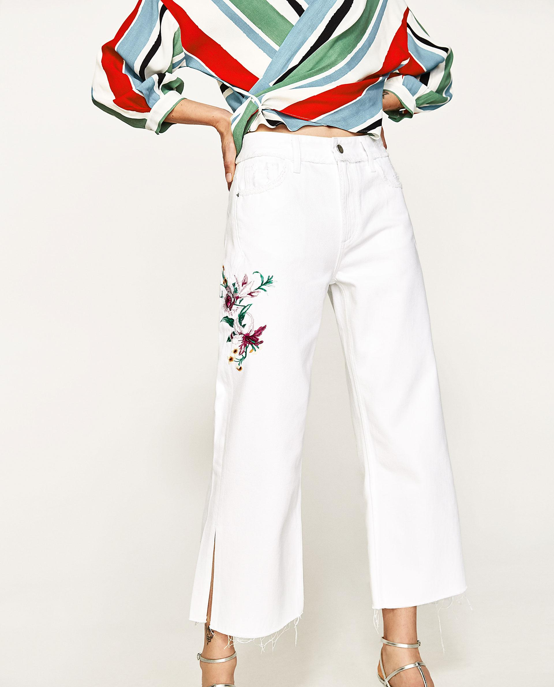 Zara embroidered floral jeans lyst