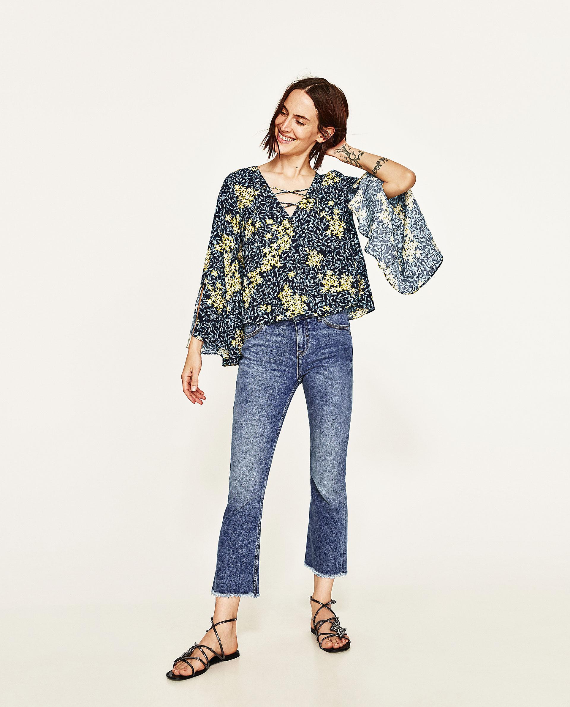 zara floral print blouse lace henley blouse. Black Bedroom Furniture Sets. Home Design Ideas