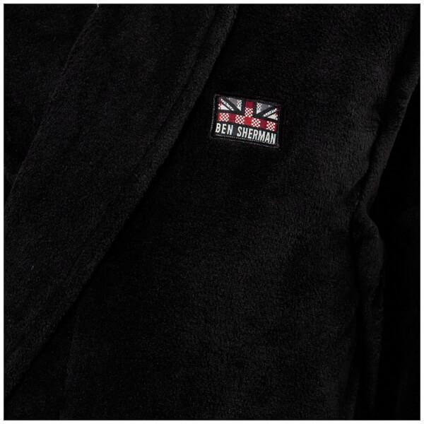 Ben Sherman Henry Fleece Robe in Black for Men - Lyst