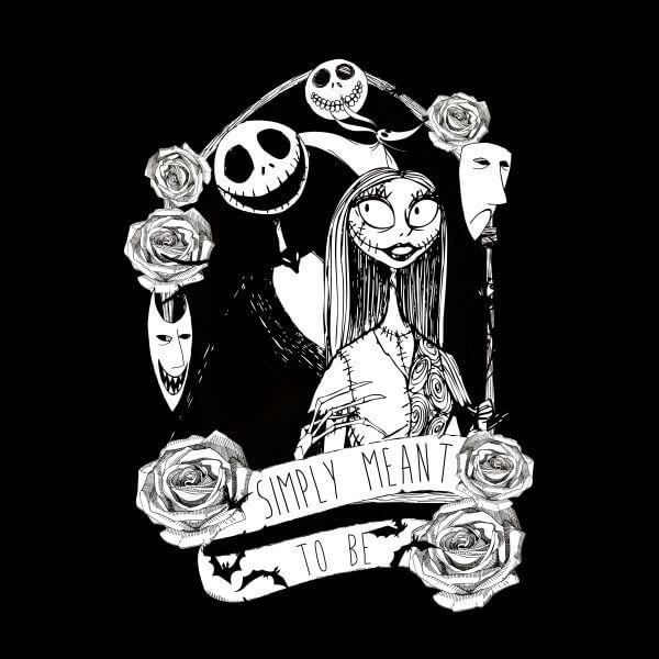 Nightmare Before Christmas Images Black And White.Women S Black Nightmare Before Christmas Jack Skellington And Sally T Shirt