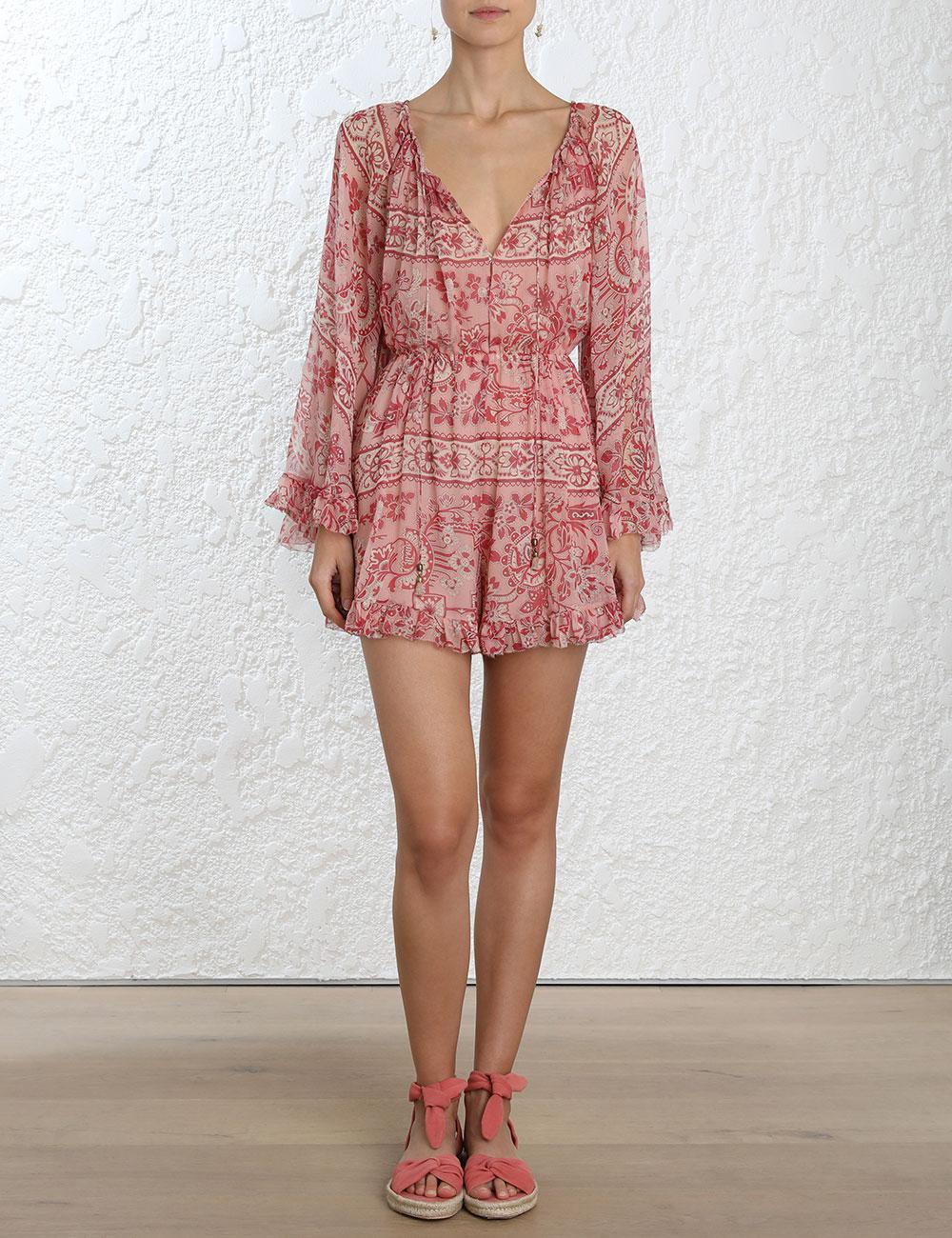 a0d7664c4f1 Lyst - Zimmermann Castile Flared Sleeve Playsuit