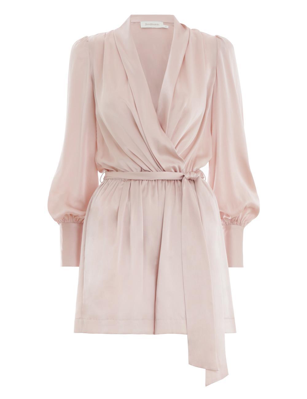 af2b727c5ca Lyst - Zimmermann Wrap Playsuit in Pink