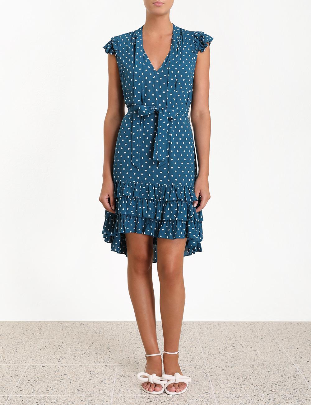 c7df8b2992a Lyst - Zimmermann Dot Flutter Smock Short Dress in Blue